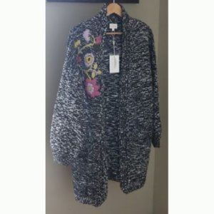 Foxiedox Floral Embroidered Cardigan Chunky Long